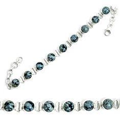 925 sterling silver natural black australian obsidian tennis bracelet m86240