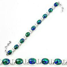 925 silver natural green malachite in chrysocolla tennis bracelet jewelry m8646