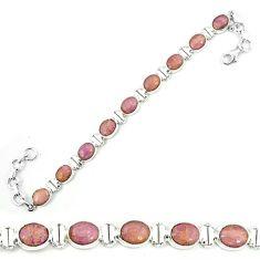 925 silver natural purple phosphosiderite (hope stone) tennis bracelet m8660