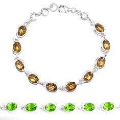 Green alexandrite (lab) 925 sterling silver tennis bracelet jewelry m86764