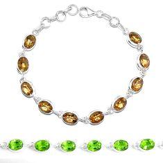Green alexandrite (lab) 925 sterling silver tennis bracelet jewelry m86767