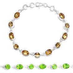 Green alexandrite (lab) 925 sterling silver tennis bracelet jewelry m86769
