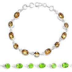 Green alexandrite (lab) 925 sterling silver tennis bracelet jewelry m86773