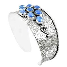 925 sterling silver 20.61cts natural blue tanzanite adjustable bangle m96432