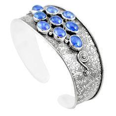 18.20cts natural blue tanzanite 925 sterling silver adjustable bangle m96439