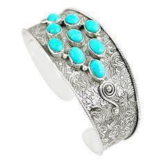 925 silver 14.72cts natural green kingman turquoise adjustable bangle m96456