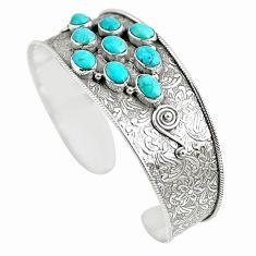 925 silver 16.58cts natural green kingman turquoise adjustable bangle m96459