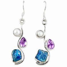 Blue apatite rough amethyst pearl 925 sterling silver dangle earrings m11168