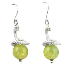 Natural green prehnite 925 sterling silver snake earrings m13445