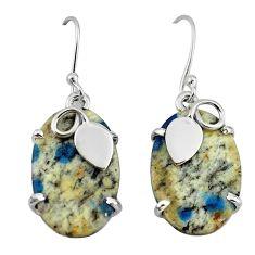Natural k2 blue (azurite in quartz) 925 silver dangle earrings m1766