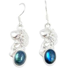 Natural blue labradorite 925 sterling silver dangle earrings m17946