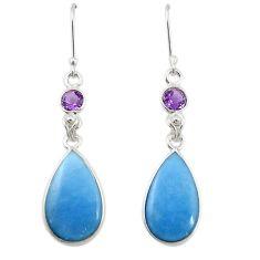 Natural blue angelite amethyst 925 silver dangle earrings jewelry m20287
