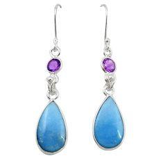 925 sterling silver natural blue angelite amethyst dangle earrings m20296