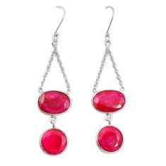 Natural red ruby 925 sterling silver dangle earrings jewelry m20669
