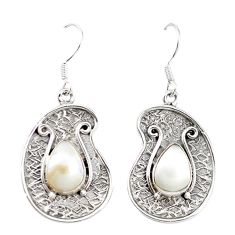 Natural white pearl 925 sterling silver dangle earrings jewelry m21022
