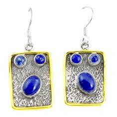 Natural blue lapis lazuli 925 silver two tone dangle earrings jewelry m21023