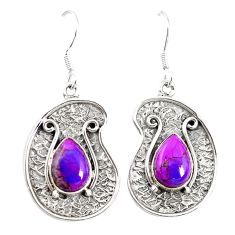925 sterling silver purple copper turquoise dangle earrings jewelry m21035