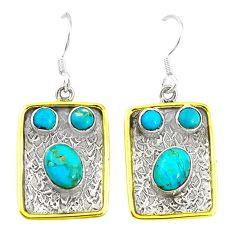 Green arizona mohave turquoise 925 silver two tone dangle earrings m21042