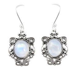 Natural rainbow moonstone 925 sterling silver dangle earrings jewelry m21463