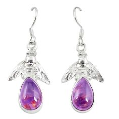 925 silver natural purple cacoxenite super seven honey bee earrings m23332