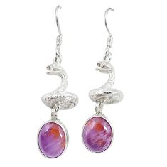 Natural purple cacoxenite super seven 925 silver snake earrings m23335