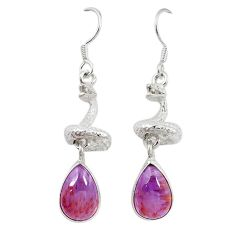 Natural purple cacoxenite super seven 925 silver snake earrings m23355