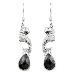 Natural black onyx 925 sterling silver fish earrings jewelry m23637