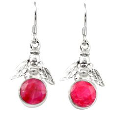 Natural red ruby 925 sterling silver honey bee earrings jewelry m23685