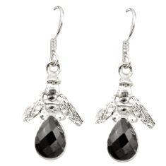Natural black onyx 925 sterling silver honey bee earrings jewelry m23696