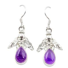 Purple copper turquoise 925 sterling silver honey bee earrings jewelry m23700