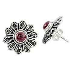 Natural red garnet 925 sterling silver stud earrings jewelry m27166