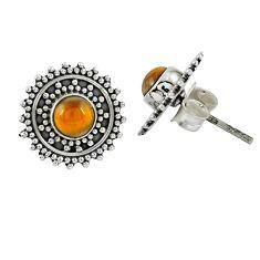 Natural brown tiger's eye 925 sterling silver stud earrings jewelry m27199