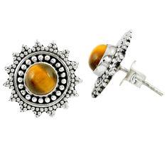 925 sterling silver natural brown tiger's eye stud earrings jewelry m27218