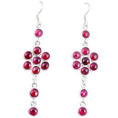 Natural red garnet 925 sterling silver dangle earrings jewelry m27826