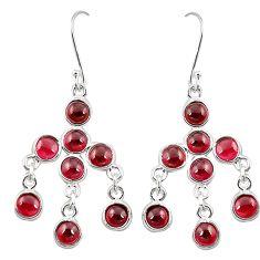 Natural red garnet 925 sterling silver dangle earrings jewelry m30367