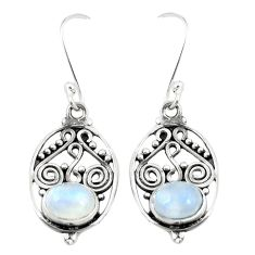 Natural rainbow moonstone 925 sterling silver dangle earrings jewelry m30429