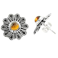 Natural brown tiger's eye 925 sterling silver stud earrings jewelry m30500
