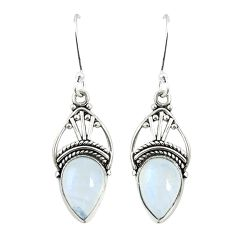 Natural rainbow moonstone 925 sterling silver dangle earrings jewelry m32835