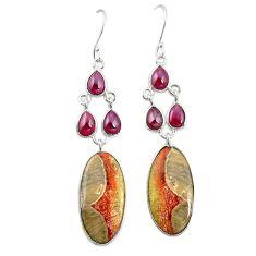 Natural brown mushroom rhyolite 925 silver dangle earrings jewelry m36217
