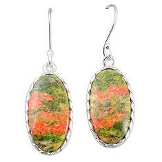 Natural green unakite 925 sterling silver dangle earrings jewelry m36341
