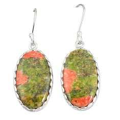 Natural green unakite 925 sterling silver dangle earrings jewelry m36343