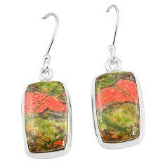 Natural green unakite 925 sterling silver dangle earrings jewelry m36345