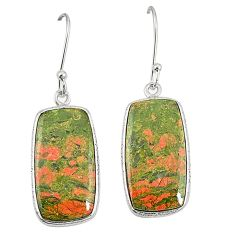 Natural green unakite 925 sterling silver dangle earrings jewelry m36346