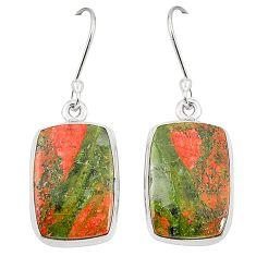 Natural green unakite 925 sterling silver dangle earrings jewelry m36347