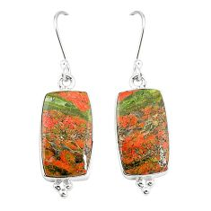 925 sterling silver natural green unakite dangle earrings jewelry m36348