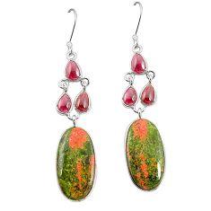 Natural green unakite red garnet 925 sterling silver dangle earrings m36349
