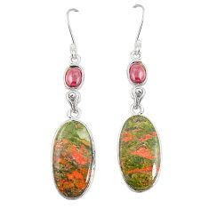 Natural green unakite red garnet 925 sterling silver dangle earrings m36351