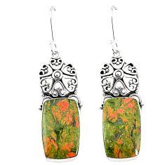 925 sterling silver natural green unakite dangle earrings jewelry m36356