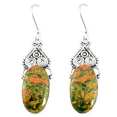 Natural green unakite 925 sterling silver dangle earrings jewelry m36358