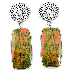 Natural green unakite 925 sterling silver dangle earrings jewelry m36359